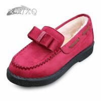 XQ/欣清老北京布鞋女冬季韩版新款平底棉鞋加绒妈妈鞋短靴孕妇裸靴子