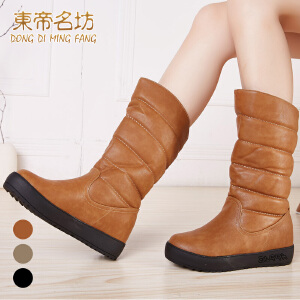 东帝名坊新款女鞋 欧美休闲雪地靴 厚底松糕底中筒靴子32711