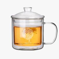 当当优品 玻璃大茶缸 高硼硅玻璃 手工吹制 双层玻璃 茶具 400ml