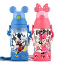 迪士尼水杯夏季宝宝防呛水瓶背带吸管杯子塑料防漏儿童水壶带把手