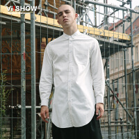 viishow秋装新款男士长袖衬衫纯色方领衬衣青年衣服上衣寸衫