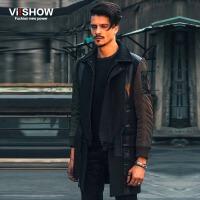 VIISHOW秋冬新款风衣 欧美时尚个性风衣外套 拼皮中长款拼接大衣 F144654
