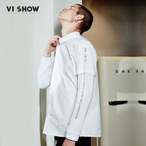 viishow2017春装新款男士白色衬衫休闲时尚方领衬衣青年衣服寸衫