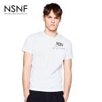 NSNF纯棉口袋字母印花白色短袖T恤 2017年春夏新款