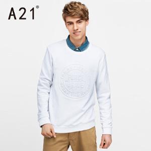 以纯A21男士圆领春季活力长袖卫衣男 印花学院风舒适百搭休闲上衣青年