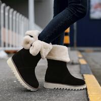 彼艾2016秋冬学生靴 平底平跟蝴蝶结加绒雪地靴保暖靴女鞋子