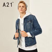以纯A21男装春季修身牛仔外套青年复古夹克