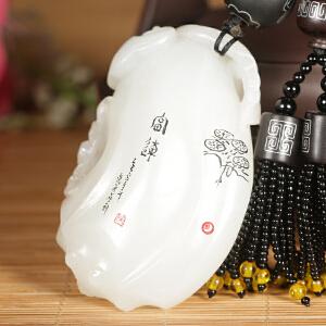 侯晓峰玉雕 新疆和田玉籽料白玉福如意把件如画手玩件江山如意