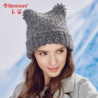 kenmont冬天女士帽子耳朵毛线帽时尚亮片保暖针织帽韩国造型帽1786