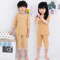 夏季儿童纯棉睡衣男童女童春秋家居服套装七分袖空调服中大童短袖两件套