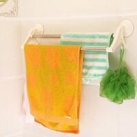 吸盘双杆毛巾架 多功能浴室毛巾架 卫生间不锈钢置物架