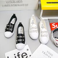 匡王夏季新款小白鞋女百搭韩版浅口帆布鞋女学生一脚蹬女鞋懒人鞋