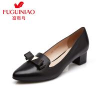 富贵鸟 秋季头层羊皮蝴蝶结装饰橡胶粗跟女鞋女单鞋