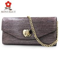 Montagut/梦特娇女包时尚单肩包气质优雅斜跨链条包 卡包