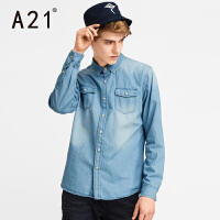 以纯A21男士牛仔衬衫男长袖薄款学生休闲个性欧美复古修身衬衣潮新款