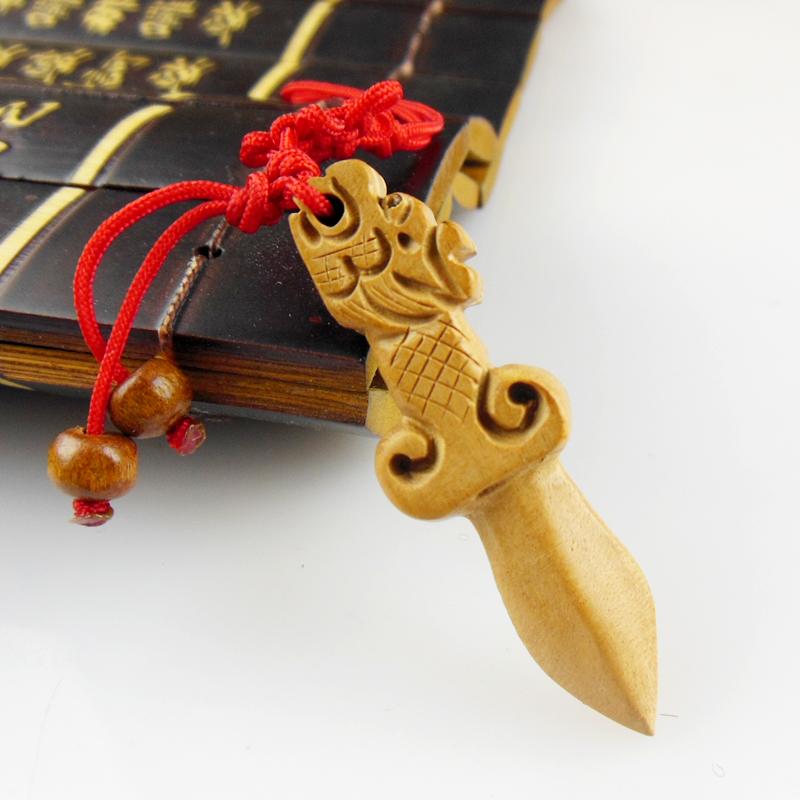 桃木剑随身龙头剑项链