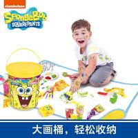 【满99减10】海绵宝宝 儿童涂鸦 手指画 无毒颜料创意涂鸦圆桶地垫套装