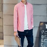 优鲨春季新品牛津纺男士商务休闲长袖衬衫韩版修身免烫打底白衬衣
