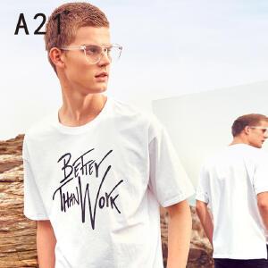 以纯线上品牌a21 夏季短袖T恤男 2017新款潮流男士休闲字母半袖t恤百搭男装衣服