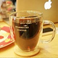 星巴克耐热玻璃杯 马克杯 双层饮料果汁杯 啤酒杯 400ml