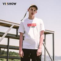VIISHOW2017夏装新品文字印花休闲短袖T恤男纯棉个性青年男士短t