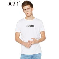 以纯线上品牌a21 2017春装新款时尚修身T恤男短袖圆领字母印花t恤