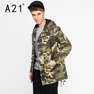 以纯A21男装冬季外套男2017新款 冲锋衣男秋冬学生迷彩男士风衣中长款