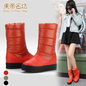 东帝名坊新款松糕平跟平厚底 雪地靴中筒棉靴 22533