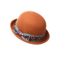 帽子女冬天复古圆顶小礼帽冬季时尚韩版英伦盆帽秋冬季羊毛呢毡帽