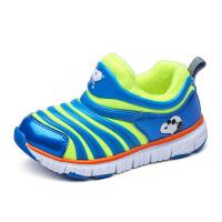 史努比毛毛虫鞋冬季新款男童运动鞋加绒保暖女童宝宝学步鞋子