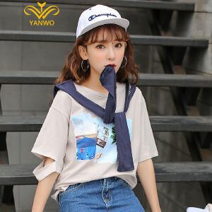 演沃 2017夏季圆领T恤女短袖夏装新款显瘦印花上衣打底衫