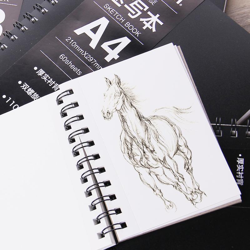 a3速写本黑面美术写生本彩铅本图画本素描纸双螺旋装订 可撕线设计