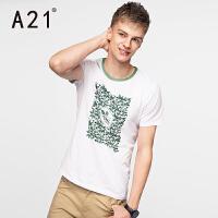 以纯A21男士短袖T恤 白色修身圆领男夏装 休闲小清新拼色青年半袖体恤