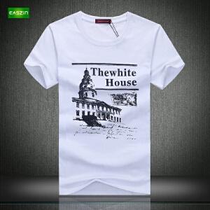 逸纯印品(EASZin)短袖t恤男夏季 韩版短袖T恤时尚白宫印花男士大码加肥T恤衫
