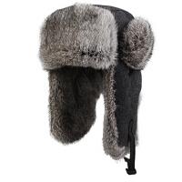 百搭男款兔毛雷锋帽 男士帽子冬季时尚复古毛呢帽户外冬帽