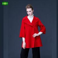 逸纯印品(EASZin)女装 双面呢大衣高档羊绒女士2016秋冬中长款羊毛呢子大衣外套