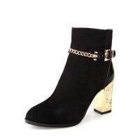 【冬季清仓】Daphne/达芙妮女鞋 时尚单靴金色粗跟侧拉链绒面女短靴