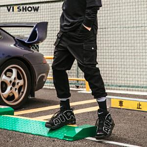 VIISHOW2017秋装新品休闲长裤男工装裤口袋装饰男士裤子小脚裤