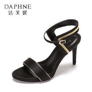 Daphne/达芙妮2017夏官方正品细跟女鞋 时尚拼色一字扣超高跟凉鞋
