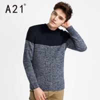 以纯A21新款男装半高领潮牌针织衫男潮学生冬季男士保暖毛衣圆领青年