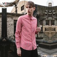viishow春装新款长袖衬衫 欧美街头衬衣男 修身红白格子衬衫