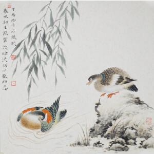 石文学《双安图》新乐市美协秘书长,中国工笔画家协会会员