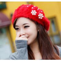 女韩版英伦贝雷帽秋冬潮可爱季帽子  毛线帽兔毛针织女士冬天