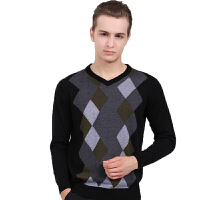 2014秋冬季男士菱形V领针织衫男装鸡心领毛衣