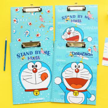 日韩可爱蓝胖子页夹 卡通可爱小清新文件夹写字板夹书写垫板