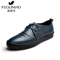 富贵鸟时尚褶皱头层牛皮男鞋金属装饰男士皮鞋圆形系带男鞋子