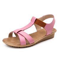 2016夏季新款舒适真皮露趾平跟凉鞋女拼色学生孕妇防滑女鞋休闲鞋女鞋