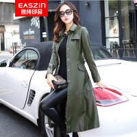 逸纯印品(EASZin)皮衣 女士2016秋冬仿真水洗皮夹克外套 韩版休闲短款皮女装