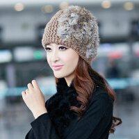 帽子女冬天韩版潮冬季毛线帽羊毛针织帽韩国时尚女士兔毛皮草冬帽