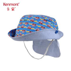 卡蒙1-3岁小孩大檐遮阳帽儿童渔夫帽护脖男童防晒帽夏天棉布盆帽4762